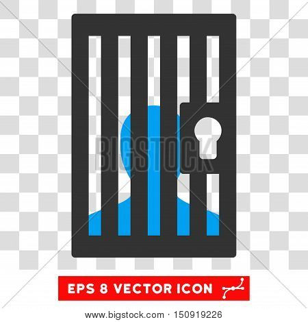 Vector Prison EPS vector pictogram. Illustration style is flat iconic bicolor blue and gray symbol on a transparent background.