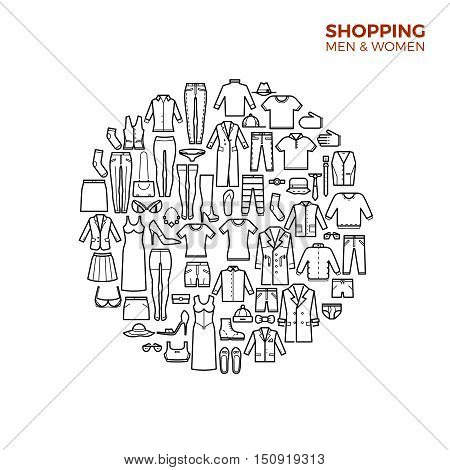 Fashion and shopping concept with clothes thin line vector icons. Skirt and dress, shoes and bag illustration