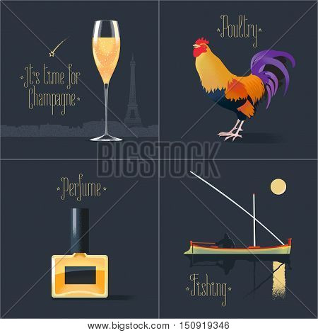 Set of vector posters, flyers, postcards, design, illustration for France. French symbols - rooster, perfume, glass of French champagne, fishing boat. Travel to France concept