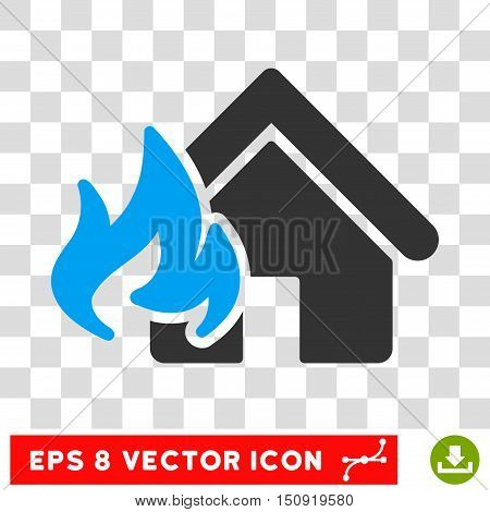 Vector Realty Fire Damage EPS vector pictograph. Illustration style is flat iconic bicolor blue and gray symbol on a transparent background.