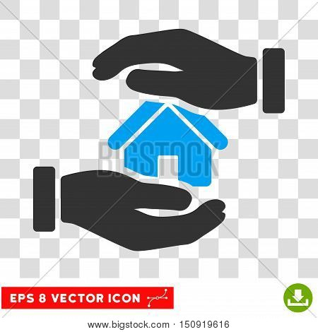 Vector Realty Insurance EPS vector pictograph. Illustration style is flat iconic bicolor blue and gray symbol on a transparent background.