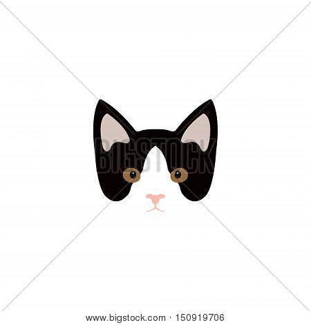 Simple cartoon kitty icon on a white background. Vector Illustration.