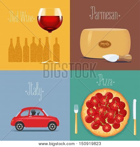 Set of vector posters, flyers, postcards, illustration for Italy. Italian symbols - red wine, parmesan cheese, small car, Italian pizza. Travel to Italy concept