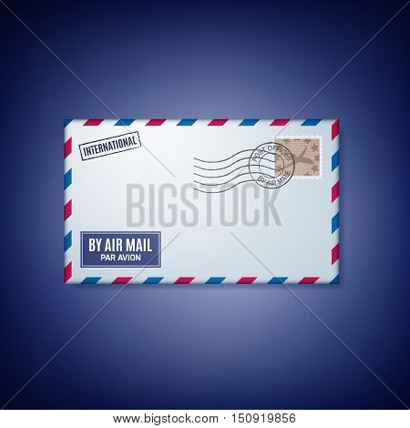 Air mail envelope with postal stamp isolated on colorful background.