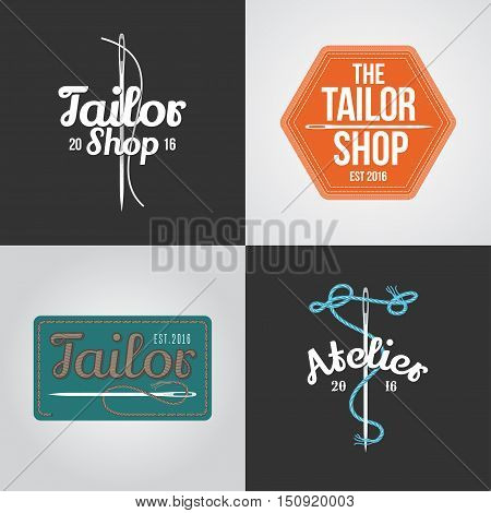 Set of tailor, atelier vector logo, icon, symbol, emblem, sign. Template graphic design elements for sewing service, tailoring shop. Hand-made, crafted concept image