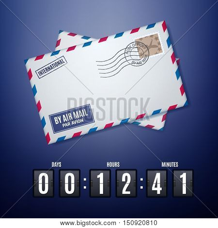 Air mail envelope with postal stamp and flip countdown timer panel over blue background. Vector illustration with countdown. Concept of announcement, promotion and mail time.