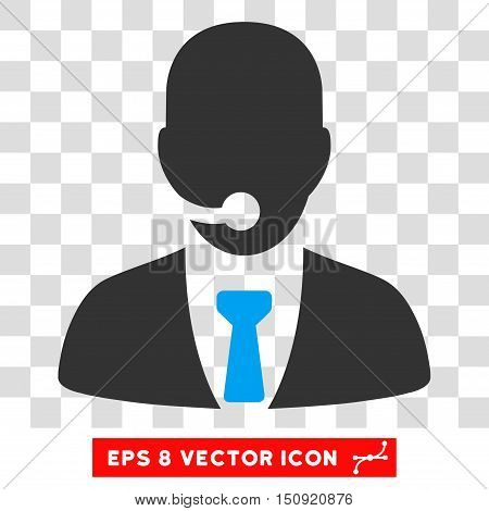 Vector Telemarketing Operator EPS vector icon. Illustration style is flat iconic bicolor blue and gray symbol on a transparent background.