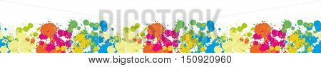 Border Colored blots on the white background seamless pattern Blue Spot Green Stain Pink Smudge Orange Blot Yellow Smear Dab and blotch seamless wallpaper Blur