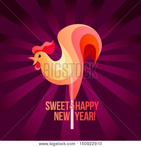 Sign New Year 2017 in shape of candy on stick. Year rooster striped like holiday candies. Vector design element for christmas, new years day, sweet-stuff, winter holiday, new years eve