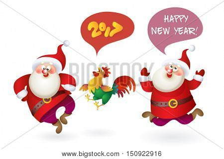 Set of Christmas Santa Claus with rooster 2017. Vector illustration Santa Claus set for your design. Four old men characters. Christmas and New Year theme