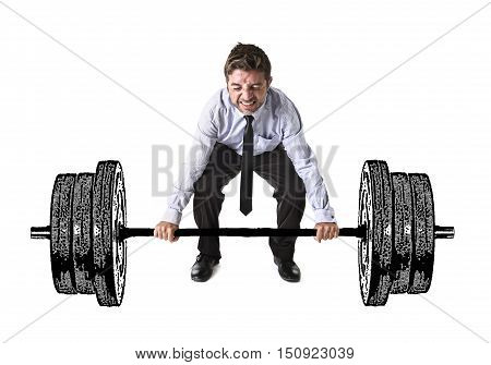 composite young attractive businessman power lifting heavy dumbbelll weights metaphor to cost of living obligations taxes and bills payment in burden and struggle concept isolated on white background