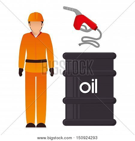 avatar man industrial worker with oil can and gas pump. petroleum theme. vector illustration
