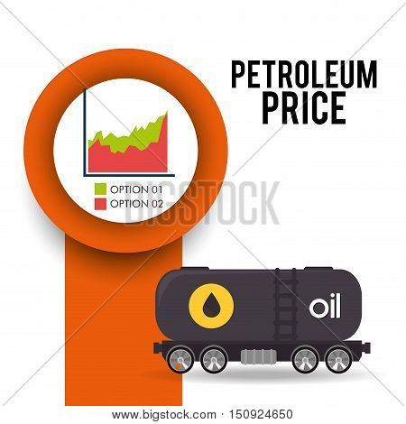 container tank with oil and graphic chart. petroleum price theme.  vector illustration