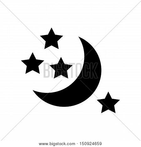 Half moon and stars icon. Simple illustration of moon vector icon for web