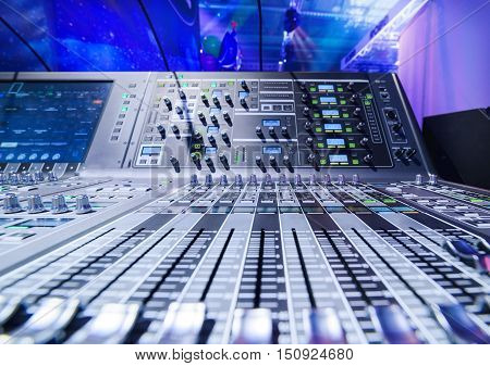 Mixing console. Sound mixer. Live studio equipment