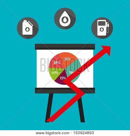 graphic pie chart  and financial arrow up red with petroleum oil icon. colorful design. vector illustration