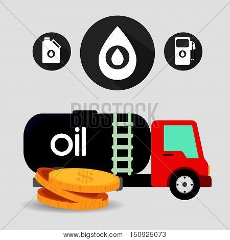 oil tank truck and money coins with petroleum icon set. vector illustration