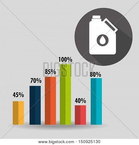 graphic bars with percentage numbers and oil gallon icon. colorful design. vector illustration