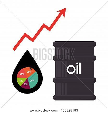 oil can and pin with financial arrow up red and graphic chart. petroleum price theme. vector illustration
