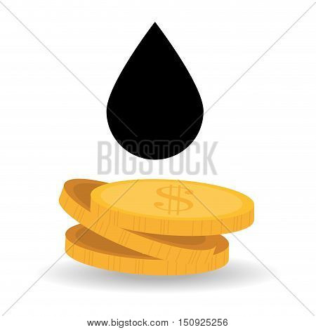 black drop and money coins. oil and petroleum price design. vector illustration