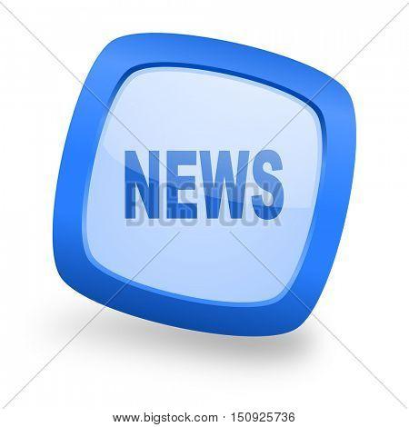 news blue glossy web design icon