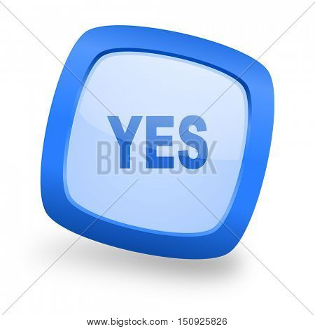 yes blue glossy web design icon