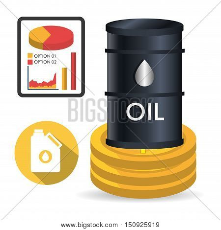 oil can and gallon with money coins and pie chart. oil and petroleum price design. vector illustration