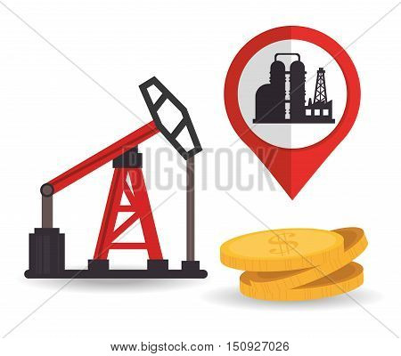 oil rig tower petroleum industry and money coins. vector illustration