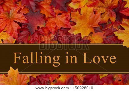Falling in Love message Some fall leaves with text Falling in Love 3D Illustration