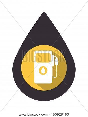oil drop with gas station pump over yellow circle. petroleum industry design. vector illustration