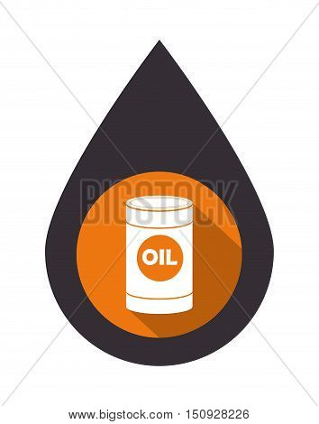 black drop with oil can over orange circle. petroleum industry design. vector illustration
