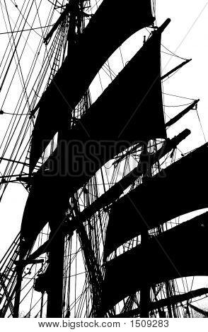 Black & White Silhouette Tall Ship Mast & Sails