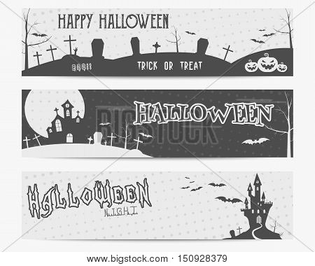 Three Halloween landscape banners. Monochrome design. Can be use on web, print. As invitation, flyer card, halloween poster etc. Creepy design for celebration holiday. Vector illustration.
