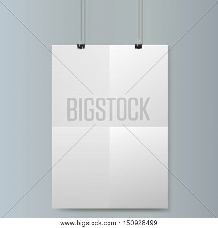 Empty vertical white paper poster mockup with traces of the folded sheet and paper clip on grey wall. Vector illustration.
