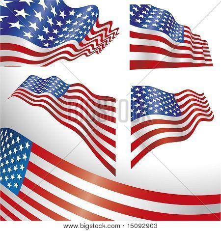 USA windy flags