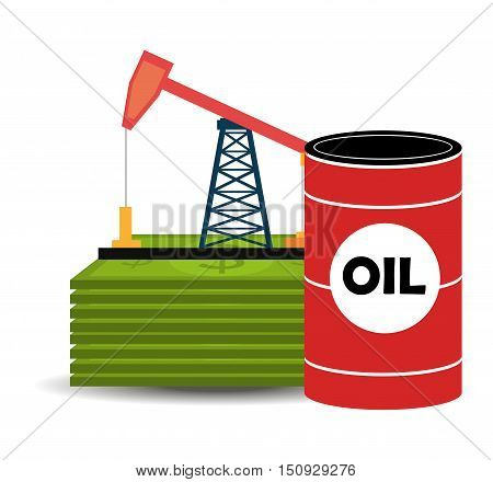 oil rig tower and can. petroleum industry and price design. vector illustration