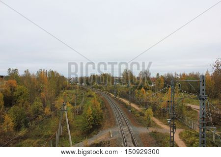 Rail road train track pathway rural landscape. Transit transportation industrial background. Travel, trip, journey concept with empty copyspace for text