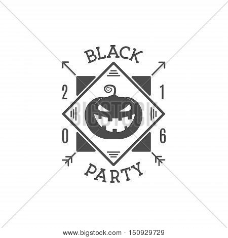 Happy Halloween 2016 black party invitation label. Typography insignia for celebration holiday. Retro badge, logo. For web projects, tee design, t shirt print, card. Vector illustration