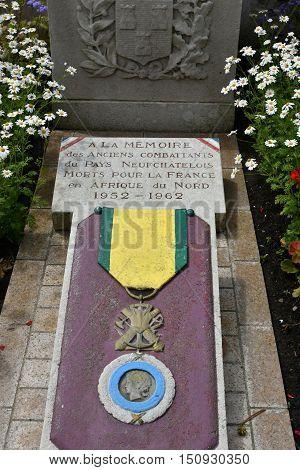 Neufchatel en Bray France - june 23 2016 : the war memorial