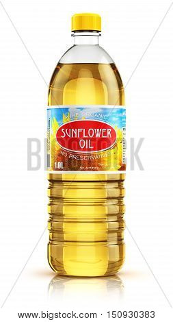 3D render illustration of plastic bottle of yellow refined vegetable sunflower cooking oil or organic fat isolated on white background with reflection effect