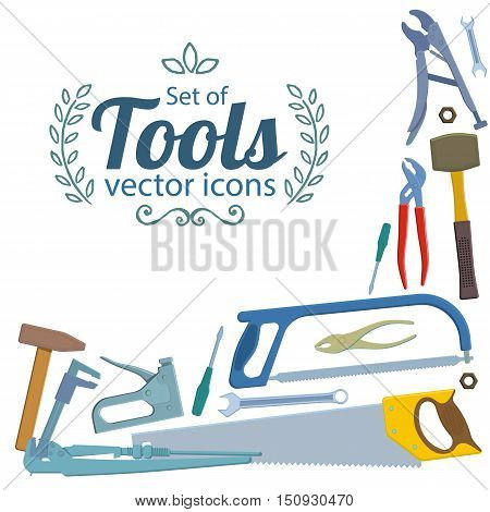 Corner frame of repair tools icons isolated on white background. Vector stock illustration.