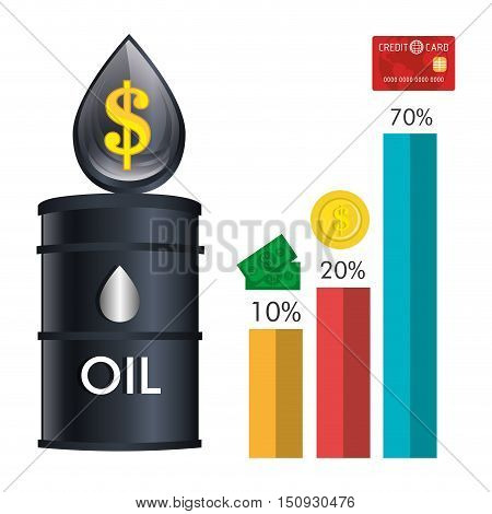 oil can and drop with financial graphic chart. petroleum price design. vector illustration