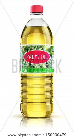 3D render illustration of plastic bottle of yellow refined vegetable palm cooking oil or organic fat isolated on white background with reflection effect