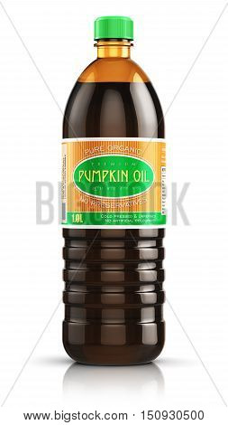 3D render illustration of plastic bottle of yellow refined vegetable pumpkin seed cooking oil or organic fat isolated on white background with reflection effect