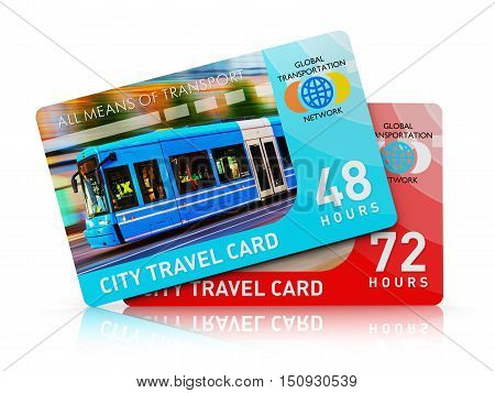 3D render illustration of the set of color plastic city transport travel ticket cards isolated on white background with reflection effect