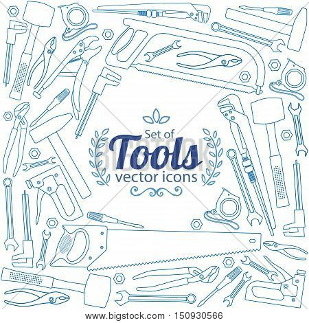 Background of repair tools icons with round frame. Template for packaging cards posters menu. Vector stock illustration.