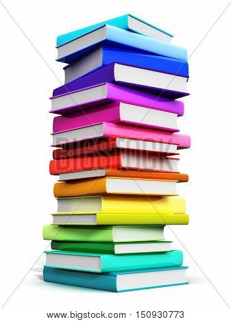 3D render illustration of the big high stack or pile of color hardcover books isolated on white background