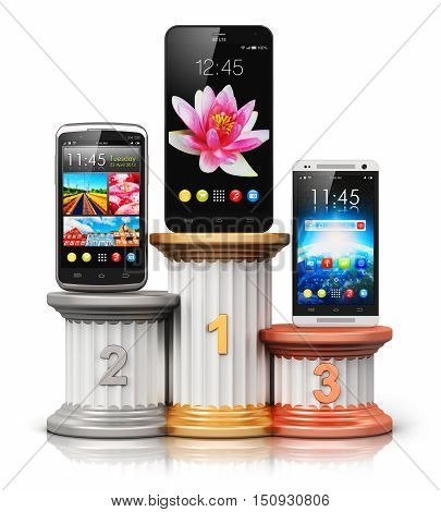 3D render illustration of the set of three different modern metal black glossy touchscreen smartphones or mobile phones with colorful application interface with color icons and buttons on pedestal with first, second and third places isolated on white