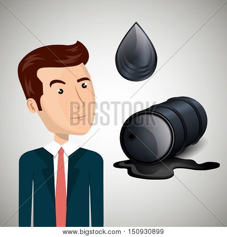 avatar man wearing suit and tie with oil can and drop. petroleum industry design. vector illustration