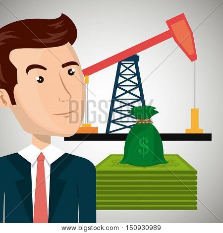 avatar business man wearing suit and tie and oil rig tower and money bills and sack. petroleum industry price design. vector illustration